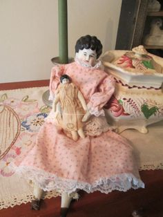 Antique German China Head Doll Mommy and Baby by ParisPaintingsEtc