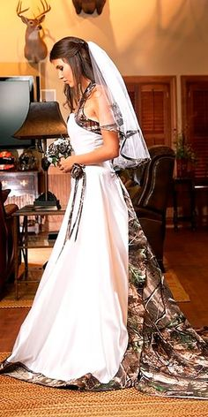 Camo Wedding Dresses To Hide In A Forest ❤ See more: http://www.weddingforward.com/camo-wedding-dresses/ #weddings