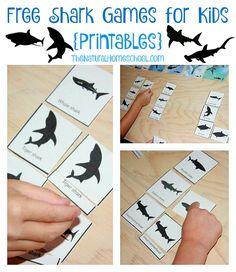 Free Shark Games for Kids {Printables} - The Natural Homeschool Shark Games For Kids, Shark Activities, Sharks For Kids, Summer Activities For Kids, Toddler Games, Indoor Activities, Family Activities, Toddler Activities, Money Saving Mom