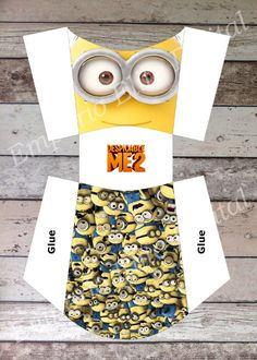 Despicable me Minions Printable Fries/ Snack Box, Digital Pdf File for Minion Birthday Party Theme Minion Party Theme, Despicable Me Party, Minions Despicable Me, Minion Birthday, Boy Birthday, Birthday Ideas, Cumpleaños Angry Birds, Minion Craft, Paper Toy