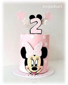 Minnie Mouse Birthday cake for a little cutie Sofia. Cake is chocolate with Cookies & Cream buttercream. Hope you have a fun party 🥳… Bolo Da Minnie Mouse, Mickey And Minnie Cake, Minnie Mouse Cookies, Minnie Mouse Birthday Cakes, Mickey Cakes, Baby Birthday Cakes, Minnie Mouse Party, 50th Birthday, Sofia Cake