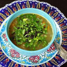 Hearty and warming lamb soup with variety of spices and herbs. (in Russian)