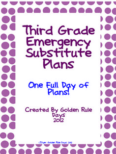 Third Grade Emergency Substitute Plans ~One Full Day~