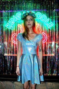 DEVOWEVO Hologram Blue Pixie Dust Skater Dress by DEVOWEVO on Etsy, $125.00