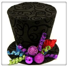 9in. Black or White Swirl top hat, Mad Hatter Christmas tree topper, or table decoration