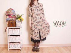 Moi 風格服飾古典氣質玫瑰棉麻襯衫式洋裝
