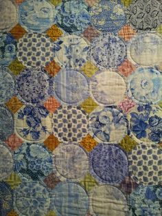 Modern Patchwork Quilt done in Kaffe Fassett fabrics, by Poppety Quilt at Etsy. Blue Quilts, Scrappy Quilts, Patchwork Quilting, Crazy Quilting, Batik Quilts, Patchwork Ideas, Hexagon Quilting, Circle Quilts, Quilt Blocks