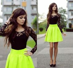 neon green skirt | cute black lace top | awesome pop of color for your senior portraits | girls teen fashion
