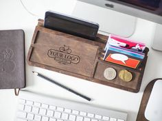 Wooden desk organizer, office desk organizer made of walnut, finished with the natural linseed oil and beeswax. The central part of the wooden desktop organizer can be used for all cell phones (with or without cases) including iPhone 6 plus, iPhone 6, iPhone 5, iPhone 4, and all Android we