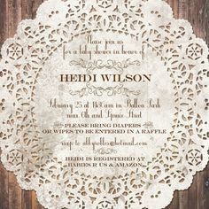 lace baby invitations | Vintage Lace Baby Shower Invitation | Bridal Showers