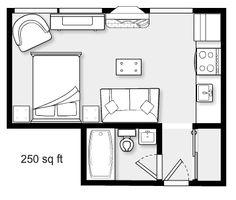 Studio Floor Plans, Small House Floor Plans, Small Cottage Designs, Small House Design, Tyni House, Sims House, Guest House Plans, Microhouse, Espace Design
