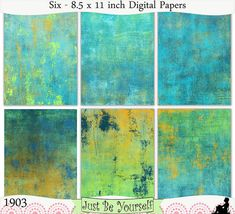 Grungy painted layers of blue, orange and green are featured on these digital printable art journal papers. Instant download collection of 6 - 8.5