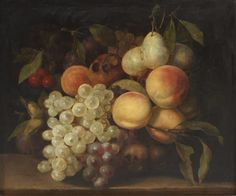 George Lance, (British, 1802-1864), Still Life with Peaches and Grapes