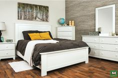 Refresh your bedroom with the Dakota™ Madison Complete White Queen Bedroom Set. This bedroom collection is not only rich in its design and details, but it also features a wonderful White Finish throughout. Pieces include a sleek queen-sized bed frame, two dressers, two nightstands and a matching mirror.
