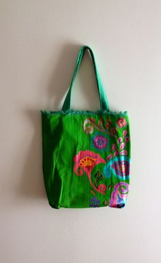 Tote canvas hobo bag hand painted by CBDesignsPR on Etsy, $45.00