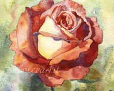 Pink Rose aquarel Print Rose schilderij Rose aquarel bloemen bloemen schilderij slaapkamer Decor woonkamer Rose Aquarelle Giclee fine art
