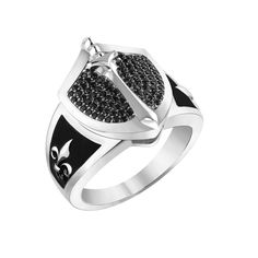 Silver Handsome and stylish knight in shining armor ring