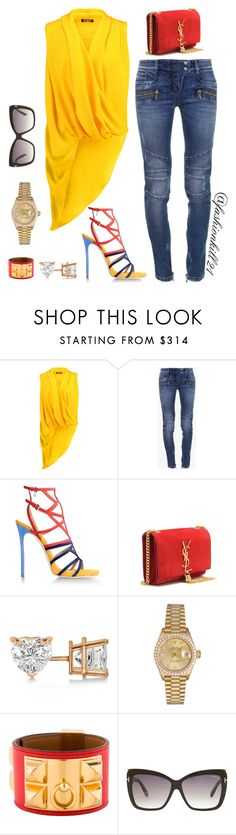 Untitled #1148 by fashionkill21 ❤ liked on Polyvore featuring Balmain, Dsquared2, Yves Saint Laurent, Allurez, Rolex, Hermès and Tom Ford