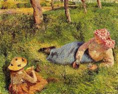 The Snack Child and Young peasant at Rest by Pissarro.