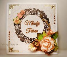 Kartka ślubna w brązach  #scrapbooking, #card, #kartka, #handmade, #rękodzieło, #malowanyimbryczek, #flowers, #kwiaty, #wedding, #ślub, #wesele, #ślubne, #ślubna