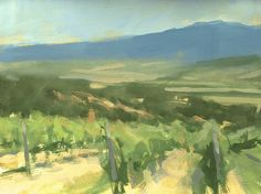"©Frank Hobbs: ""Italy - Vineyards Near Montepulciano,"" casein on rag paper, 11 x 14 in."