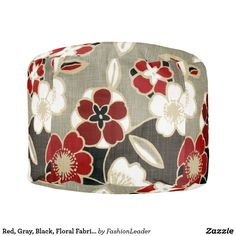 Red, Gray, Black, Floral Fabric Print