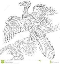 Динозавр Archeopteryx Zentangle Иллюстрация вектора - иллюстрации насчитывающей биографической, dino: 84401036