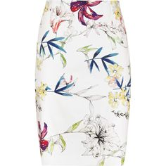 Reiss Demi Printed Pencil Skirt ($180) ❤ liked on Polyvore featuring skirts, bottoms, sugar, floral pencil skirt, white pencil skirt, white knee length skirt, flower print pencil skirt and slimming skirts