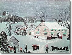 """The Departure"" by Anna Mary Moses--Grandma Moses. This print was left to me by my grandmother (Gigi) and now hangs in my livingroom"