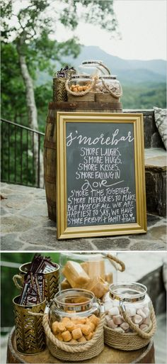 Killer wedding S'mores bar and sign!