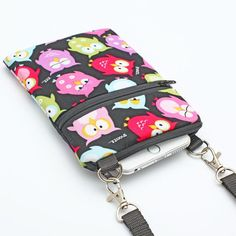 iPhone 8 Plus Shoulder Bag, Cell Case with Strap, Fabric Smartphone Zipper Travel Purse, Passport Bag - red green blue owls ij black Diy Bags Purses, Fabric Purses, Fabric Bags, Iphone 8 Plus, Cell Phone Pouch, Travel Purse, Knitted Blankets, Coin Purse, Creations