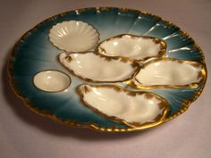 Rare Blue Green 1876-1889 Haviland Salesman Sample Oyster Plate from grandviewfinetableware on Ruby Lane
