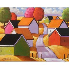 PAINTING ORIGINAL Folk Art Fall Road Cottages Modern Yellow Hills Country Abstract Landscape Autumn Trees Fine Artwork C. Horvath 11x14