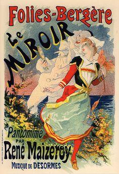 Folies-Bergere - Le Miroir 1892 Jules Cheret poster