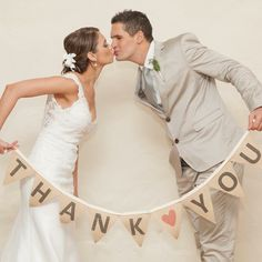 'Thank you' wedding bunting. Great idea to use for Thank you cards.  Available to purchase in South Africa