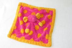 Elegantbaby Elephant Pink Orange Plush Elegant Baby DOTS Security Blanket Lovey #ElegantBaby