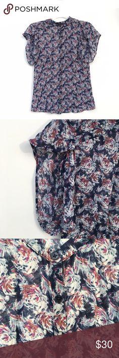 A/X Armani Exchange 100% Silk Floral Blouse Fluttersleeve Armani Exchange printed button-up blouse in pink and blue colors. 100% silk. A/X Armani Exchange Tops Blouses