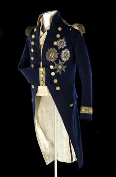 The dress coat worn by Lord Nelson at the battle of Trafalgar (10/21/1805).  The bullet hole from the fatal wound can be seen on the shoulder of the coat.
