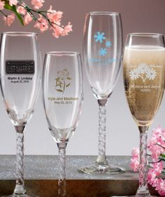 Personalized champagne flute wedding favor $2.00.