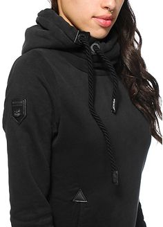 A solid black heavyweight fleece hoodie is accented with black faux leather patch detailing and an oversized hood with thick rope adjustable drawstrings | Naketano