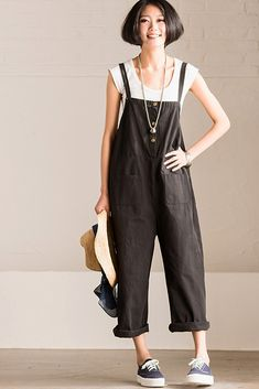 Summer Causel Cotton Linen Overalls Trousers Women Clothes – FantasyLinen