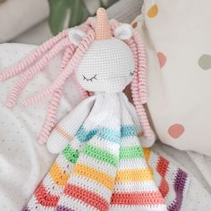 Lovely unicorn pattern, Crochet unicorn pattern, Amigurumi, Security Blanket Pattern