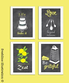 Chalkboard Inspired Kitchen Art Set Funny Kitchen by Freshline, $35.00