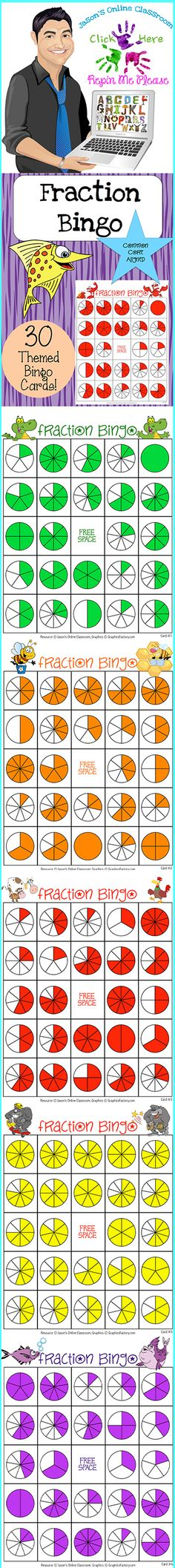 $5 Fraction Bingo -   This packet contains 30 randomized and uniquely themed fraction bingo cards and 2 bingo calling cards. There are 24 fractions and 1 free space on each bingo card. Each card has random fractions from 1/1 to 10/10. We suggest that all pages are printed out and laminated.  Use this one resource for years!  Click on the link below for more info about the images used to make this resource (Images © Graphics Factory) http://jasonsonlineclassroom.com./graphics-factory/