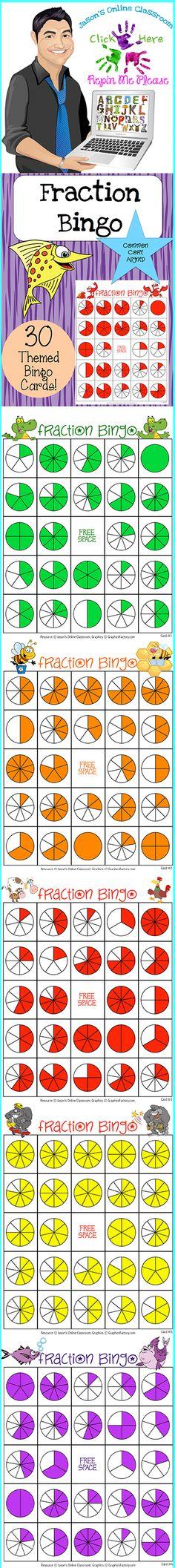 Bingo met breuken en verdelingen. Zelf te maken of een digitale download online bestellen: http://jasonsonlineclassroom.com./graphics-factory/