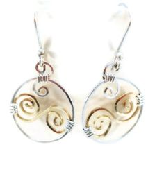 Wire Wrap Earrings Gold and Sterling Silver by FleurDeLeeDesign, $32.00