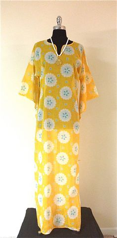 SOLD Vintage 1960s Mod Floral Sheer Cotton Caftan With Angel Sleeves by pinkpoppyvintage on Etsy