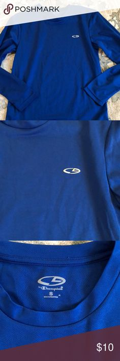 """Men's small champion C9 dri fit long sleeve, NWOT I bought this to match my godsons soccer colors and never wore it - I would say it is a women's large- bust measures 18"""" across . Champion Tops Tees - Long Sleeve"""