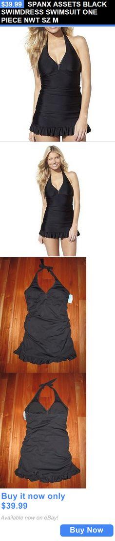 Women Swimwear: Spanx Assets Black Swimdress Swimsuit One Piece Nwt Sz M BUY IT NOW ONLY: $39.99