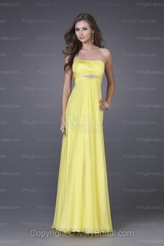 Sheath/Column Strapless Daffodil Crystals Ruched Chiffon Floor-length Cocktail Dress,you can find it at http://www.millybridal.com/